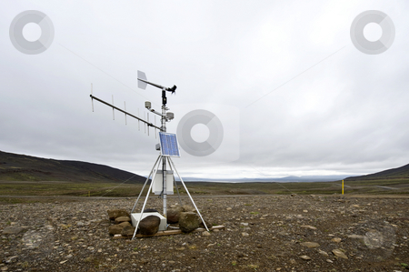 Weather station stock photo, A solar powered weather station and transmitting aerial along the Kjolur Highland route in the Tundras of Iceland on a typical Icelandic overcast day. by Corepics VOF