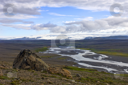 Kjolur Highland Landscape stock photo, The kjolur Highland landscape with a clear view on the Hofsjokull glacier, and the icy river, flowing through the volcanic ash landscape by Corepics VOF