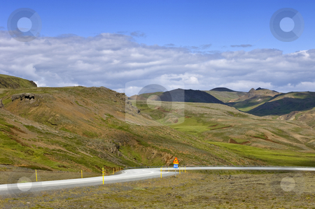 Iceland Ring Road stock photo, The single road around Iceland, the Number one, winding itself down through the remnants of dormant volcanoes towards the south coast near Reykjavik by Corepics VOF