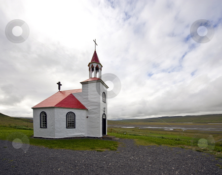 Arctic Church stock photo, A typical octagonal church, build from drift wood in Iceland by Corepics VOF