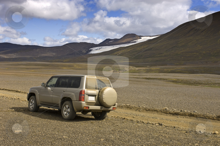 Off Road Adventure stock photo, A four by four car parked to observe the magnificent Icelandic Highland scenery of the Sprengisandur Tundra by Corepics VOF