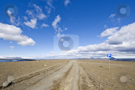 Sprengisandur stock photo, A parking lot on the Sprengisandur highland road in Iceland, in the middle of nowhere, in between two major glaciers on the volcanic Mid Atlantic Ridge by Corepics VOF