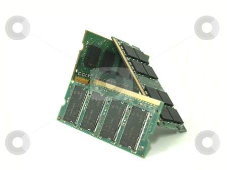 Memory 03 stock photo, Three memory banks leaning against each other by Jose .