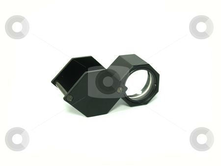 Magnifier stock photo, Jewellers' triplet magnifier over white background. by Jose .