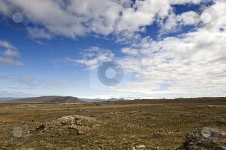 Shield Volcano stock photo, The shield volcano near Hveravellir along the Kjolur Highland route in Iceland, with the Vatnajokull Ice cap on the horizon by Corepics VOF
