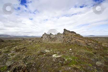 Lava fields stock photo, The extensive lava fields with its erratic shapesnear Hveravellir and the Kjolur Highland route in Iceland by Corepics VOF
