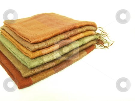 Silk Scarf stock photo, Stack of folded silk scarfs by Jose .