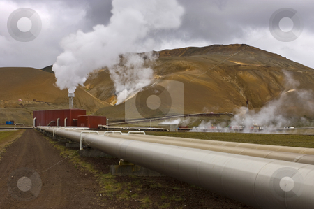 Geothermal power plant stock photo, The geothermal powerplant in the Volcanic Krafla system, generating electricity from the natural earth energy by Corepics VOF