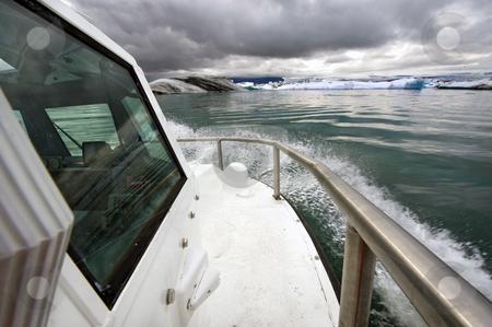Amphibian craft stock photo, An amphibian craft entering the Jokulsarlon Glacier lake in Iceland by Corepics VOF