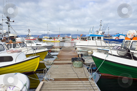 Arctic Fishing Fleet stock photo, Fishing boats in the harbor of Husavik, Iceland by Corepics VOF