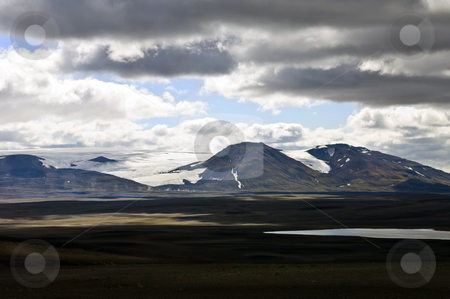 Sprengisandur stock photo, The barren tundra of the Sprengisandur Highlands in Iceland, with the dominating Vatnajokull glacier in the background by Corepics VOF