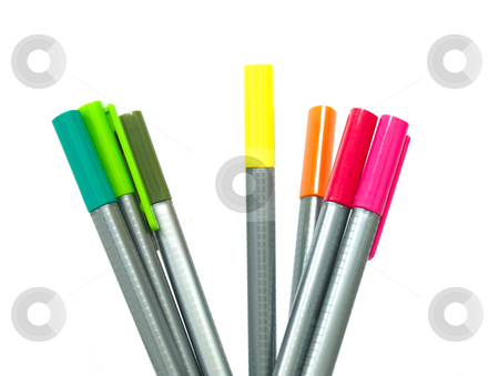 Pens stock photo, Seven standing pens in different colors by Jose .