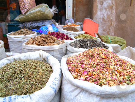 Spices stock photo, Bags of spices close up by Jose .