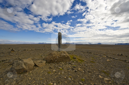 Basalt Memorial stock photo, A single Basalt column in the Kjolur Highlands in Iceland, a memorial for the early explorers of this remote region by Corepics VOF