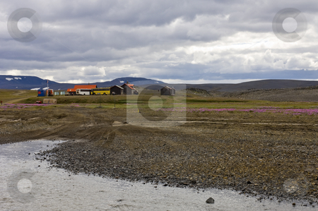 Mountain Rescue Station stock photo, An Icelandic mountain rescue station and bus stop in the sprengisandur highlands, close to a river bedding by Corepics VOF