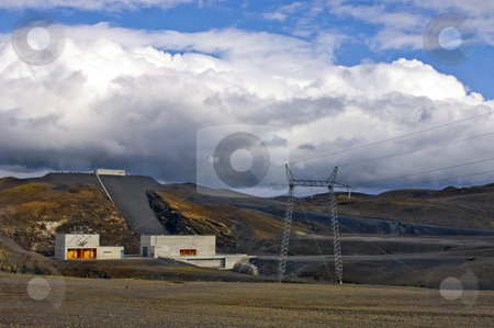 Hydro-electric power plant stock photo, The barrage and power generator of a hydro-electric power plant in Iceland by Corepics VOF