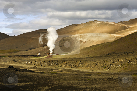 Krafla Geothermal Power plant stock photo, Part of the 60MW geothermal powerplant in the Volcanic Krafla system, generating electricity from the natural earth energy by Corepics VOF