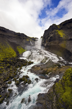 Ofaerufoss, Icleand stock photo, Close up of the Ofaerufoss waterfal in the Eldgja volcanic canyon of Iceland's Landmannalaugar national park by Corepics VOF