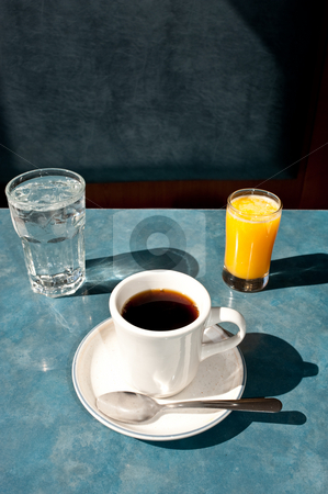 Water, Coffee, and Orange Juice stock photo,  by Ron Greer