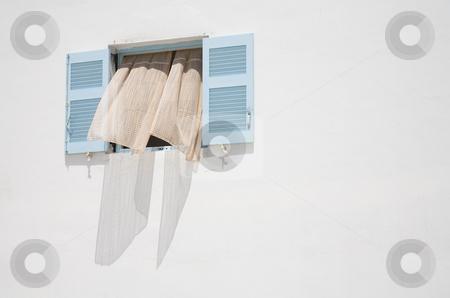Greek Window stock photo, Open window on the island of Santorini, Cyclades, Europe by mdphot
