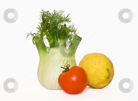 Fennel lemon and tomato stock photo, Fresh fennel lemon and tomato isolated on white background by ANTONIO SCARPI