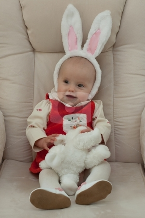 Little Easter Bunny stock photo, Little caucasian baby girl with Easter Bunny ears. by Mariusz Jurgielewicz