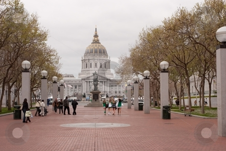 SF City Hall stock photo, City Hall of San Francisco, California, opened in 1915, in its open space area in the city's Civic Center, is a Beaux-Arts monument to the brief