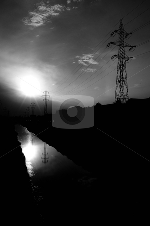 Pure energy stock photo, Sun and energy equipment like tower, cable by Dragos Iliescu