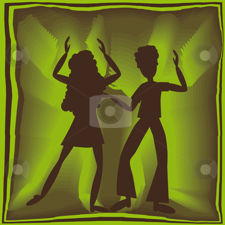 Retro dancing in green stock vector clipart, Retro couple dancing in green light with brown background by Karin Claus