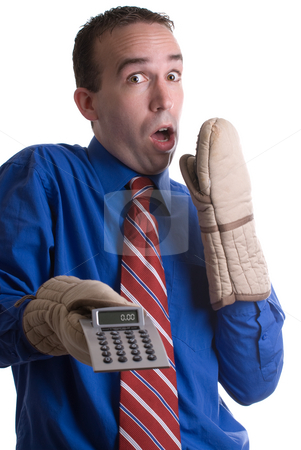 Mistake In Calculation stock photo, A banker saying oops after a calculation error, isolated against a white background by Richard Nelson