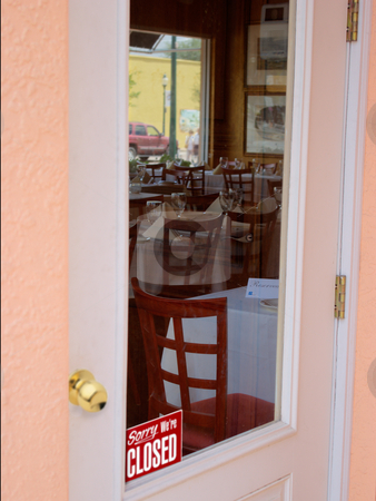 Dining room waiting for customers stock photo, Closed dining room waiting for customers by Steve Carroll