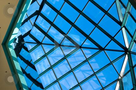 Angular Glass Panes stock photo, Angular glass panes in skylight by Steve Carroll