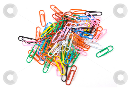 Multicolored paperclips on white background stock photo, Multicolored paperclips on white background by Steve Carroll