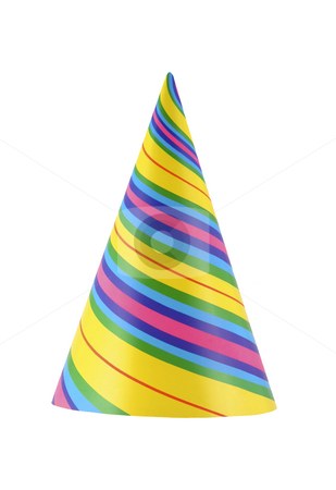 Party hat 30 stock photo, Colorful and vibrant part hat isolated on white by Stacy Barnett