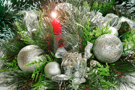 New year decoration stock photo, Christmas decoration with silver balls and red candel by Julija Sapic