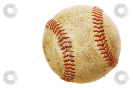 Old baseball stock photo, High rez worn baseball on a white background by Steve Mcsweeny