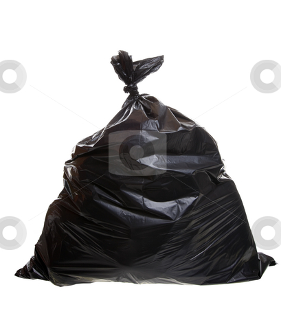 Garbage bag stock photo, Black trash bag isolated on a white background by Steve Mcsweeny