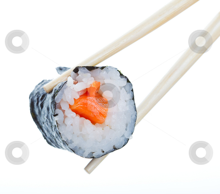 Sushi roll stock photo, Sushi roll in chopsticks on a white background by Steve Mcsweeny