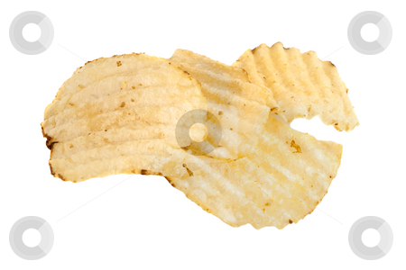 Ridged Potato Chips, isolated stock photo, Ridged potato chips, isolated on a white background by Steve Carroll