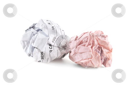 Too Many Bills stock photo, Unpaid bills ready to throw away, isolated on white background by Steve Carroll
