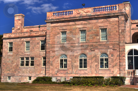 Charles Ringling Mansion stock photo, North wing of Charles & Edith Ringling's winter retreat, showing beautiful color of marble construction.  This building now houses administrative offices for New College of Florida by Steve Carroll