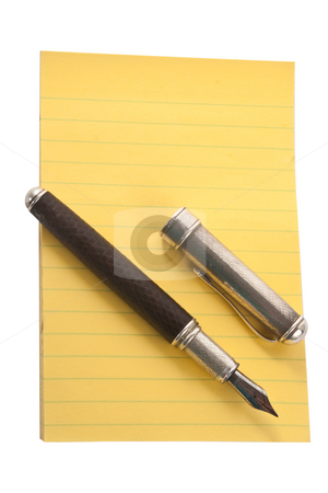 Yellow Notepad with Fountain Pen stock photo, Yellow notepad with fountain pen, isolated on white background by Steve Carroll