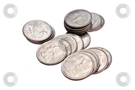 Stack of Quarters, Isolated stock photo, Stacks of US Quarters, isolated on a white background by Steve Carroll