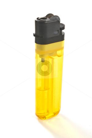 Disposable Butane Lighter stock photo, Inexpensive disposable butaine lighter, isolated on white background by Steve Carroll