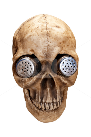 Skull Salt & Pepper Shakers stock photo, Salt and pepper shaker holder shaped like a human skull.  Isolated on black background, clipping path included. by Steve Carroll