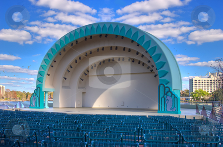 Modern Amphetheater stock photo, Modern amphitheater awaiting concert by Steve Carroll