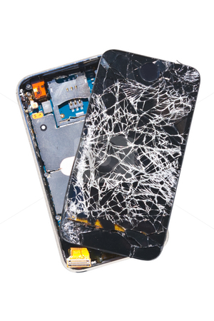 Smashed Cell Phone stock photo, A cell phone that was dropped off a 27th floor balcony, isolated on white background with clipping path by Steve Carroll