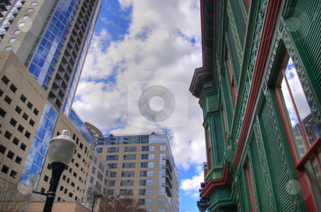 New VS Old Downtown Architecture stock photo, New buildings sit nest to old, restored, buildings in downtown Orlando, FL by Steve Carroll