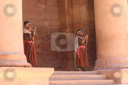 Nabataeen Guards at the Treasury in Petra stock photo,  by Chris Budd