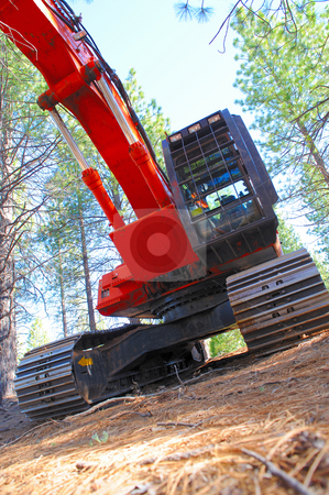 Logging Tractor stock photo, Red log loader used to de-limb logs and stack them in a pile ready to be delivered to the lumber mill by Lynn Bendickson